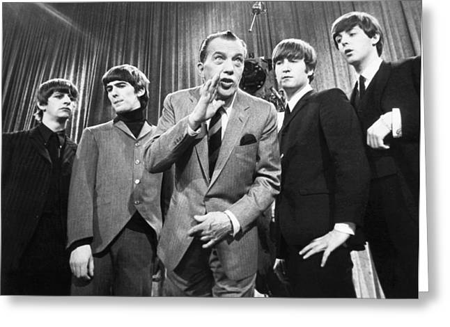Harrison Greeting Cards - Beatles And Ed Sullivan Greeting Card by Granger