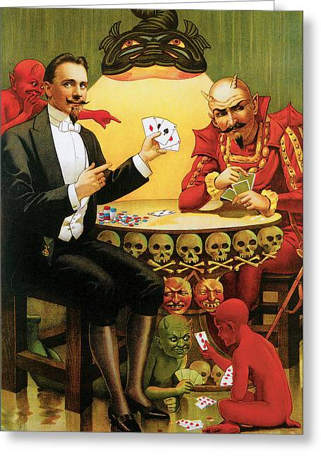 Playing Cards Greeting Cards - Beats the Devil Greeting Card by Unknown