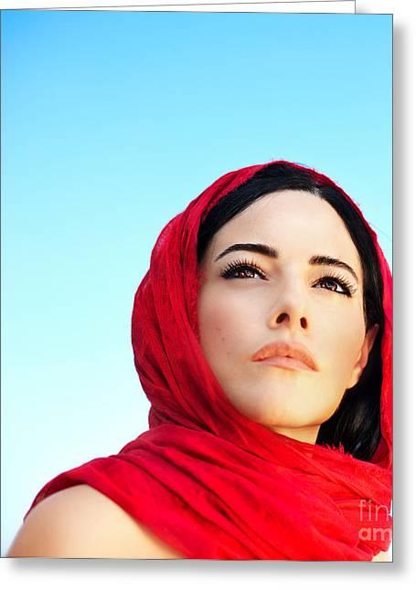Hijab Fashion Greeting Cards - Beautiful arabic woman Greeting Card by Anna Omelchenko
