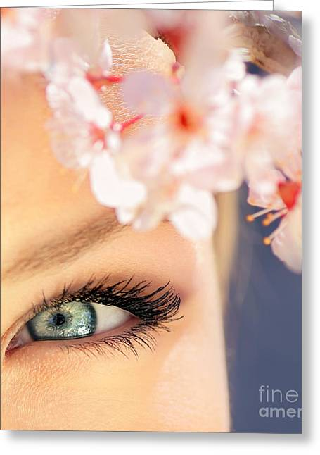 Glamour Optics Greeting Cards - Beautiful blue eye Greeting Card by Anna Omelchenko