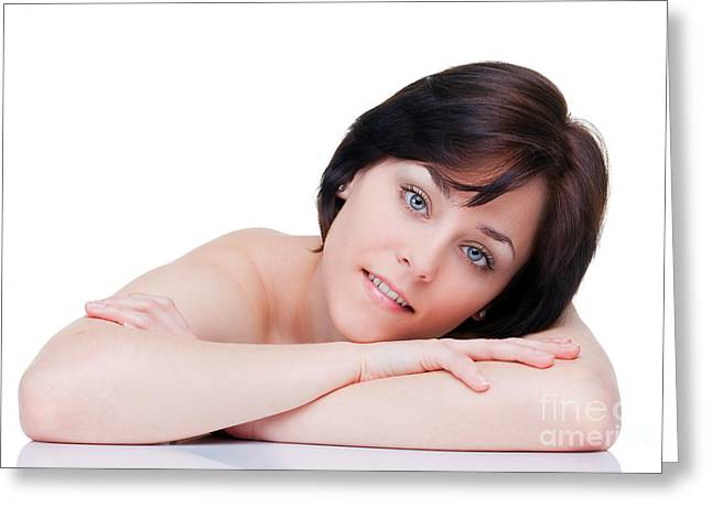 Wellbeing Greeting Cards - Beautiful brunette portrait Greeting Card by Richard Thomas