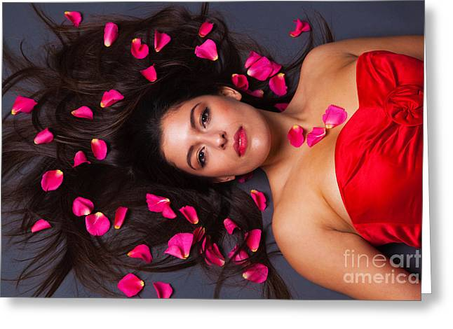 Pretty Brown Eyes Greeting Cards - Beautiful brunette with rose petals in her hair Greeting Card by Richard Thomas