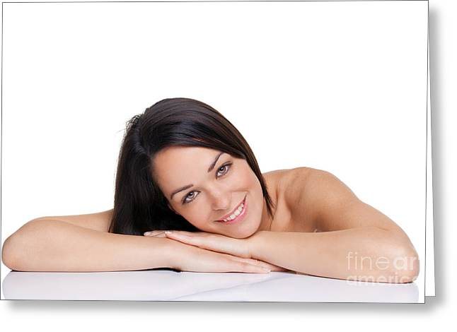 Pretty Brown Eyes Greeting Cards - Beautiful brunette woman Greeting Card by Richard Thomas