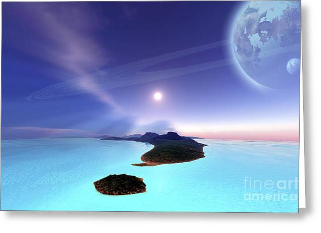 Island .oasis Greeting Cards - Beautiful Cosmic Seascape On An Alien Greeting Card by Corey Ford