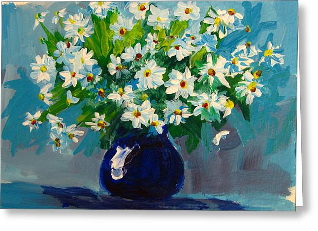 Interior Still Life Paintings Greeting Cards - Beautiful Daisies  Greeting Card by Patricia Awapara