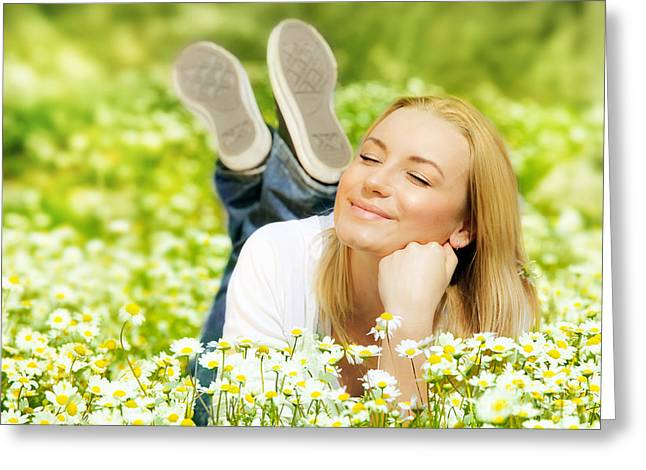 Blooms Greeting Cards - Beautiful female enjoying flower filed Greeting Card by Anna Omelchenko