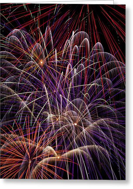 Pyrotechnics Greeting Cards - Beautiful Fireworks Greeting Card by Garry Gay