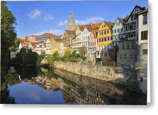 Beautiful German Town Tuebingen - Neckar Waterfront Greeting Card by Matthias Hauser