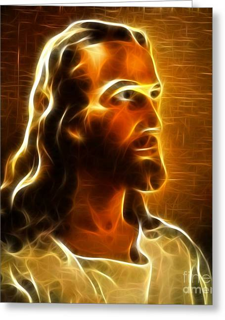 Calvary Mixed Media Greeting Cards - Beautiful Jesus Portrait Greeting Card by Pamela Johnson