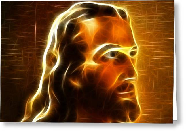 Lord Mixed Media Greeting Cards - Beautiful Jesus Portrait Greeting Card by Pamela Johnson