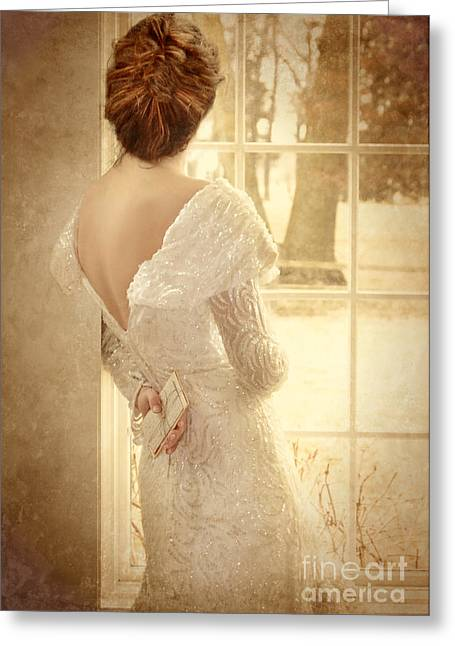 Sequins Greeting Cards - Beautiful Lady in Sequin Gown Looking out Window Greeting Card by Jill Battaglia