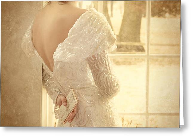 Beautiful Lady in Sequin Gown Looking out Window Greeting Card by Jill Battaglia