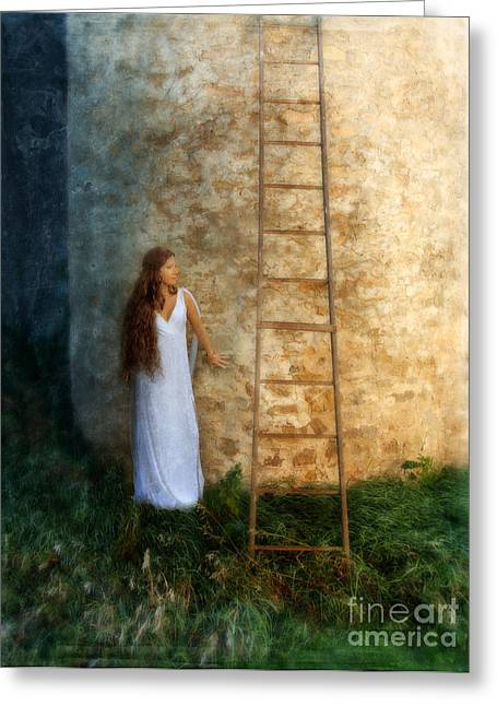 Maiden Greeting Cards - Beautiful Princess Castle Wall and Ladder Greeting Card by Jill Battaglia