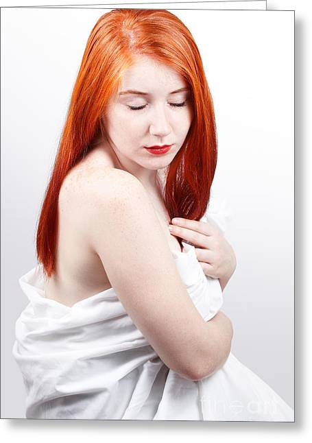 Suave Greeting Cards - Beautiful redhead studio shot Greeting Card by Gabriela Insuratelu