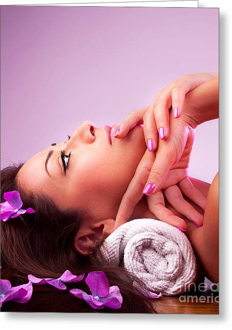 Therapy Greeting Cards - Beautiful relaxing female in spa salon Greeting Card by Anna Omelchenko