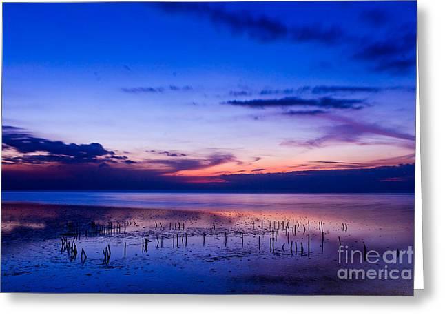 Beautiful Sea In Twilight Greeting Card by Mongkol Chakritthakool