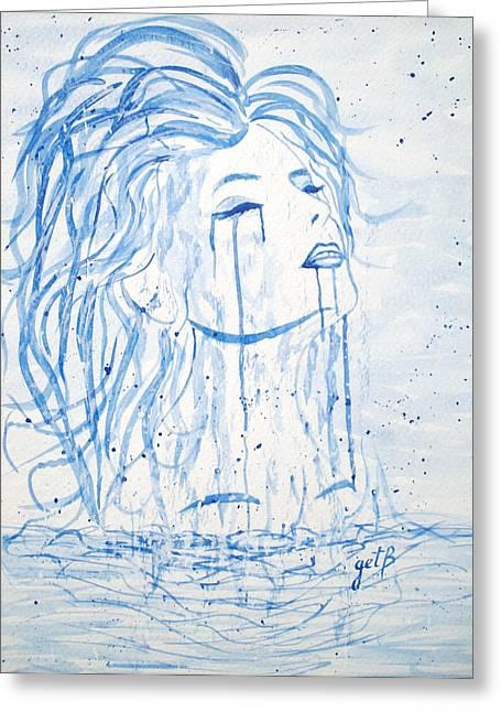 Woman Head Paintings Greeting Cards - Beautiful Sea Woman watercolor painting Greeting Card by Georgeta  Blanaru