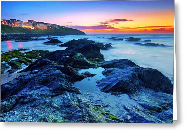 Atlantic Beaches Greeting Cards - Beautiful sunset by the ocean Greeting Card by Jaroslaw Grudzinski