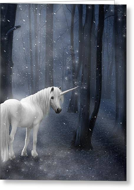Snowy Night Night Greeting Cards - Beautiful Unicorn in Snowy Forest Greeting Card by Ethiriel  Photography