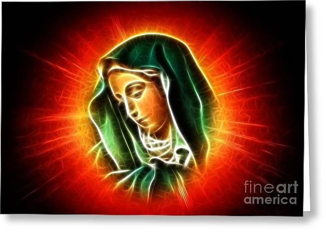 Religious Mixed Media Greeting Cards - Beautiful Virgin Mary Portrait Greeting Card by Pamela Johnson