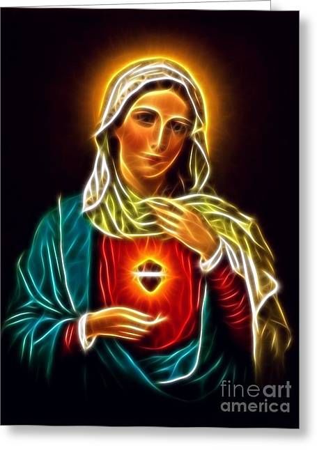 Religious Mixed Media Greeting Cards - Beautiful Virgin Mary Sacred Heart Greeting Card by Pamela Johnson