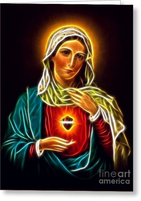 Mary Mixed Media Greeting Cards - Beautiful Virgin Mary Sacred Heart Greeting Card by Pamela Johnson