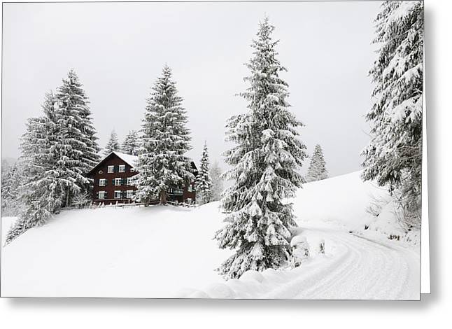 Snow-covered Landscape Greeting Cards - Beautiful winter landscape with trees and house Greeting Card by Matthias Hauser
