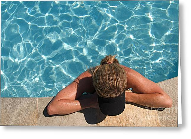 Sunbathing Greeting Cards - Beautiful Woman and Swimming Pool Greeting Card by ELITE IMAGE photography By Chad McDermott