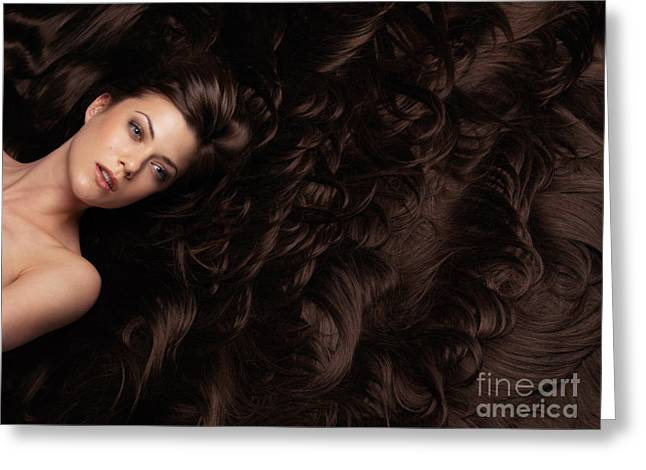 Wavy Hair Greeting Cards - Beautiful Woman in a Sea of Hair Greeting Card by Oleksiy Maksymenko