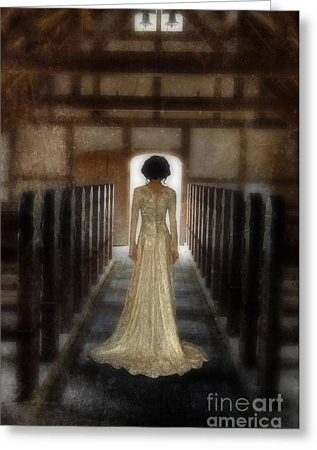Lacy Greeting Cards - Beautiful Woman in Lace Gown in an old Rural Chapel Greeting Card by Jill Battaglia