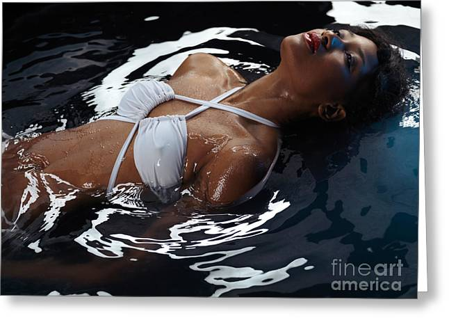 Two Piece Greeting Cards - Beautiful Woman in Swimsuit Lying in Water Greeting Card by Oleksiy Maksymenko