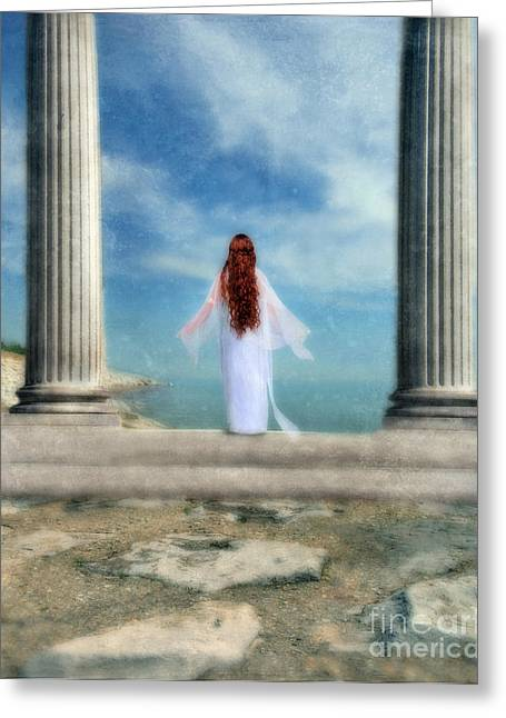 Maiden Greeting Cards - Beautiful Woman in White Greeting Card by Jill Battaglia
