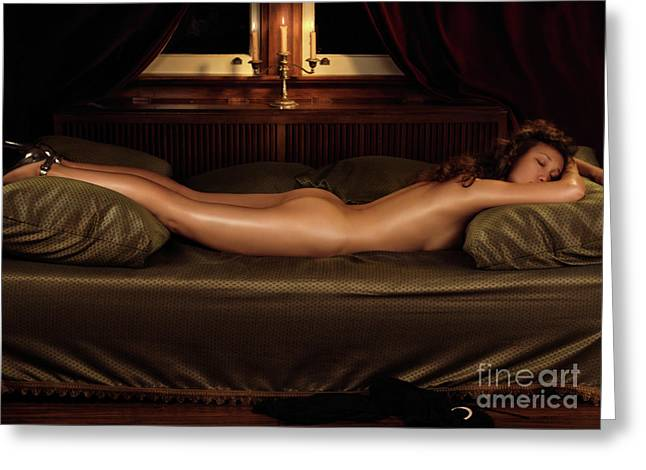 Beautiful Woman Sleeping Naked Greeting Card by Oleksiy Maksymenko