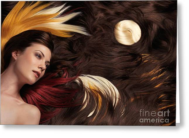 Beautiful Woman with Colorful Hair Extensions Greeting Card by Oleksiy Maksymenko