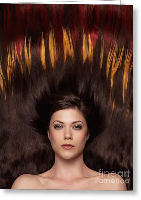 Wavy Hair Greeting Cards - Beautiful Woman with Hair Extensions in a Shape of Fire Greeting Card by Oleksiy Maksymenko