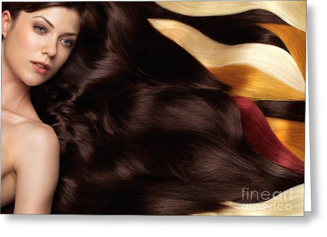 Mid Adults Greeting Cards - Beautiful Woman with Hair Extensions Greeting Card by Oleksiy Maksymenko