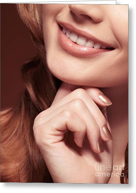 Chin Up Photographs Greeting Cards - Beautiful Young Smiling Woman mouth Greeting Card by Oleksiy Maksymenko