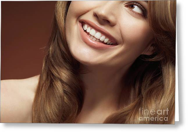 20-30 Greeting Cards - Beautiful Young Smiling Woman Greeting Card by Oleksiy Maksymenko