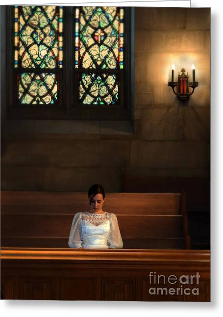 Girl Looking Down Greeting Cards - Beautiful Young Woman in Church Pew Greeting Card by Jill Battaglia