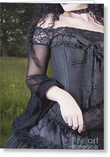 Evening Dress Greeting Cards - Beautiful Young Woman In Field Greeting Card by Ethiriel  Photography