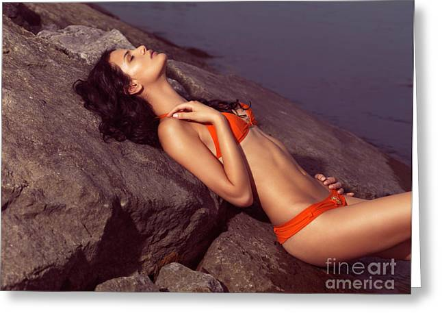 Two Piece Greeting Cards - Beautiful Young Woman in Orange Bikini Greeting Card by Oleksiy Maksymenko