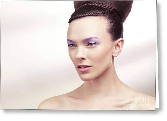 Beautiful Young Woman Portrait Greeting Card by Oleksiy Maksymenko