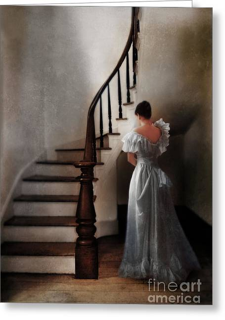 Dressy Greeting Cards - Beautiful Young Woman Standing in Gown by Stairs Greeting Card by Jill Battaglia