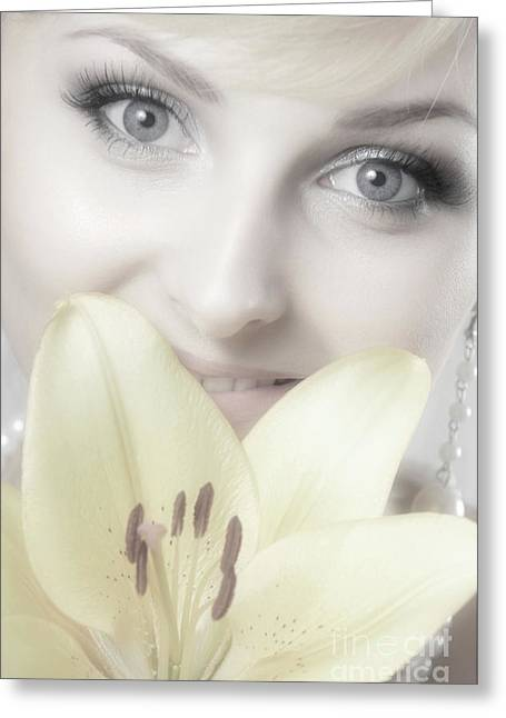Beauty-treatment Greeting Cards - Beautiful Young Woman with a Yellow Lily Greeting Card by Oleksiy Maksymenko