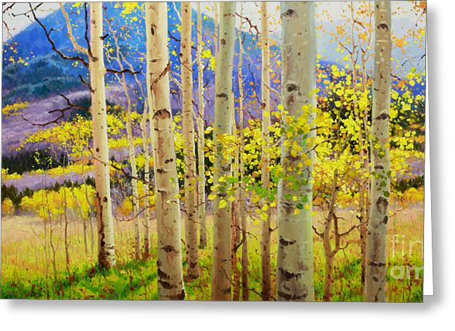 Original Oil Paintings Greeting Cards - Beauty of Aspen Colorado Greeting Card by Gary Kim