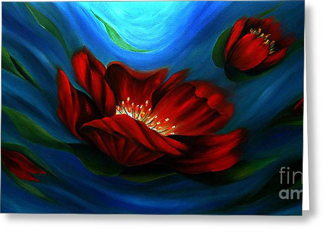 Beauty of Red Flower Greeting Card by Uma Devi