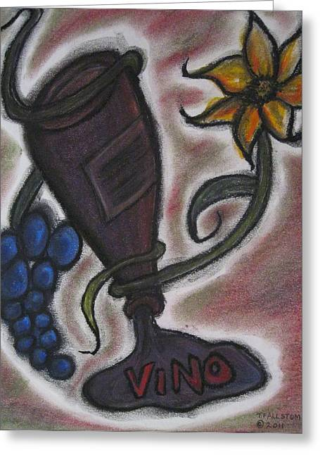 Wine-bottle Pastels Greeting Cards - Beauty on the Vine Greeting Card by Tracy Fallstrom
