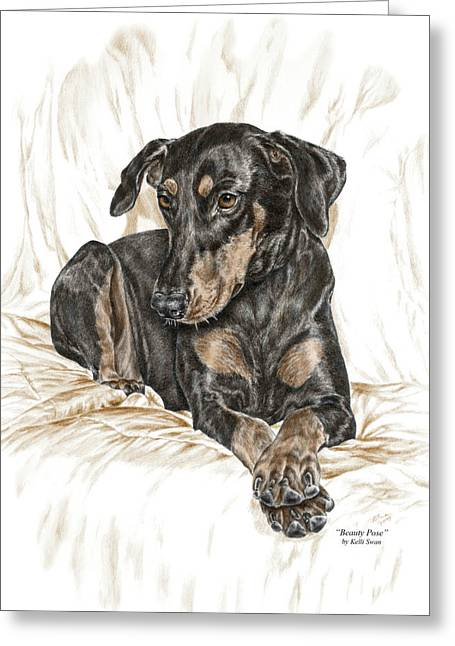 Dobermann Greeting Cards - Beauty Pose - Doberman Pinscher Dog with Natural Ears Greeting Card by Kelli Swan
