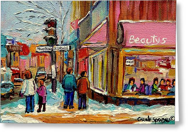 Out-of-date Greeting Cards - Beautys Luncheonette Montreal Greeting Card by Carole Spandau