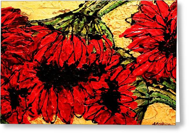 Pallet Knife Greeting Cards - Because I Care Greeting Card by Laura  Grisham